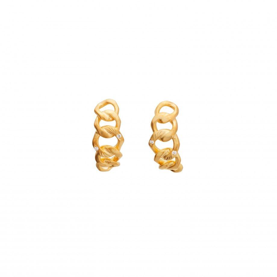 Brincos Cordão Pedras Dourado