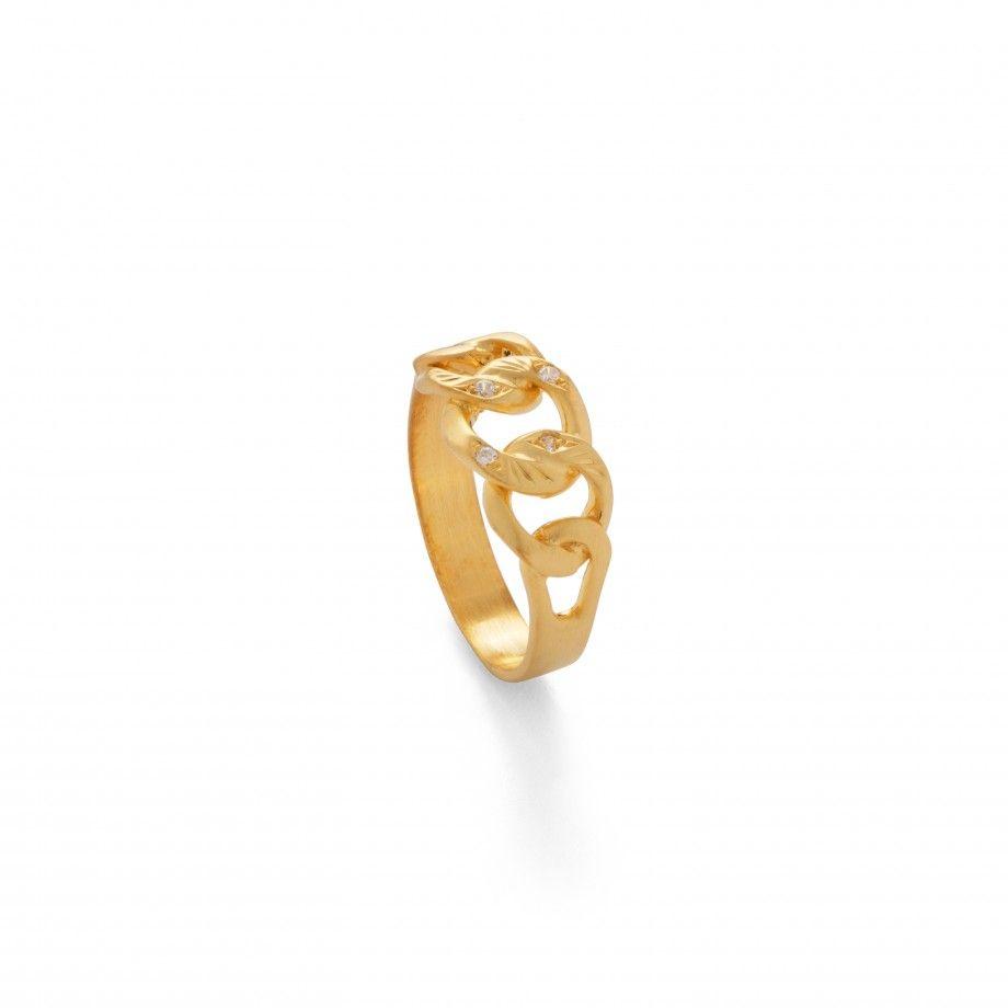 Anel Cordão Pedras Dourado