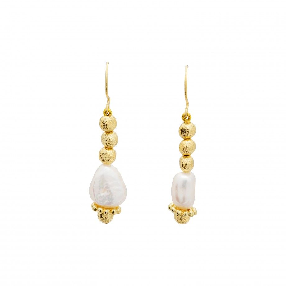 Earrings Marbles Golden and Pearls