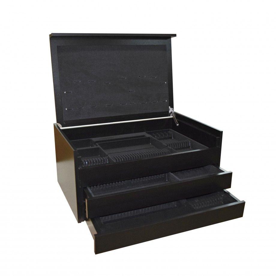 Wood Box 130 Pcs 2 Drawers Black