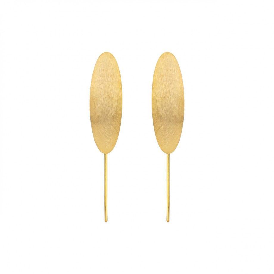 Earrings Brushed Leaf - Golden