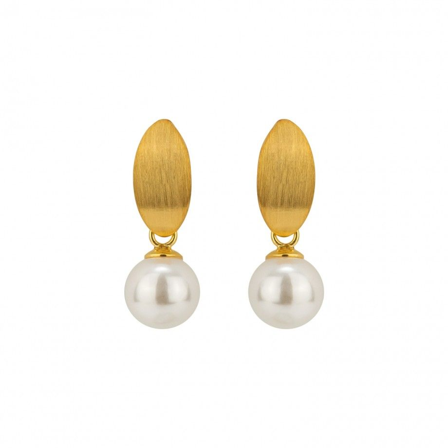 Earrings Brushed Leaf and Pearl - Golden