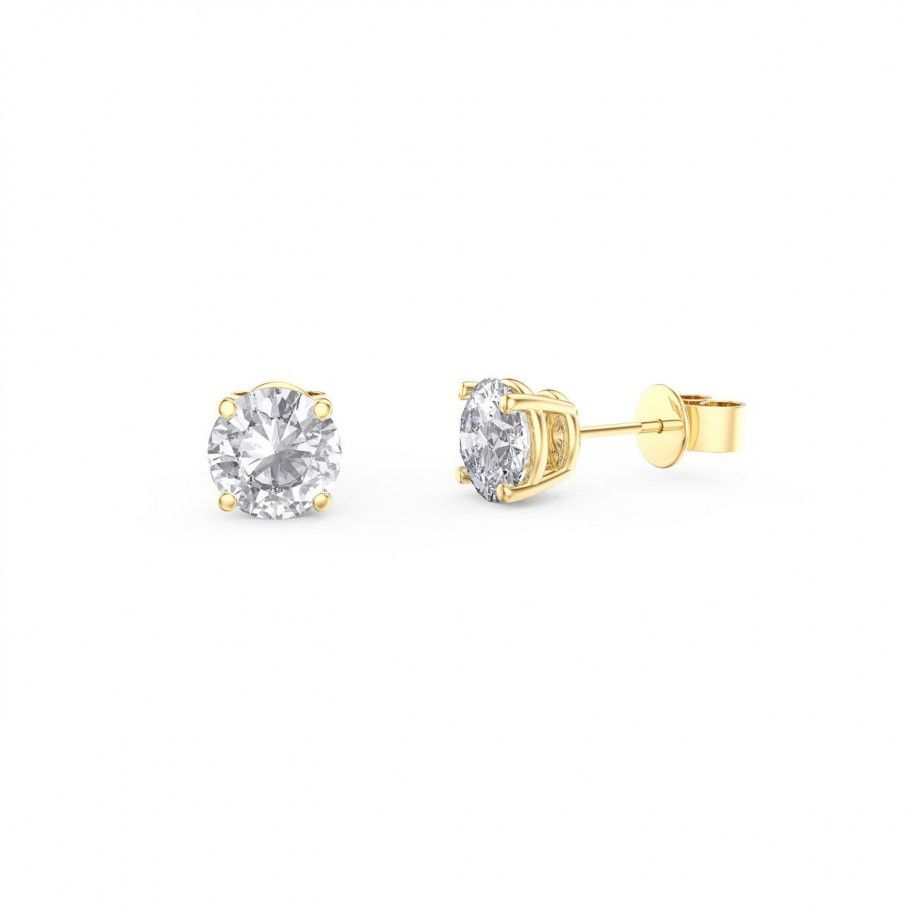 Earrings Zircon 6mm - Golden