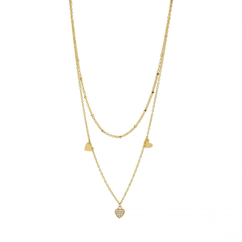 Double Necklace Hearts - Golden