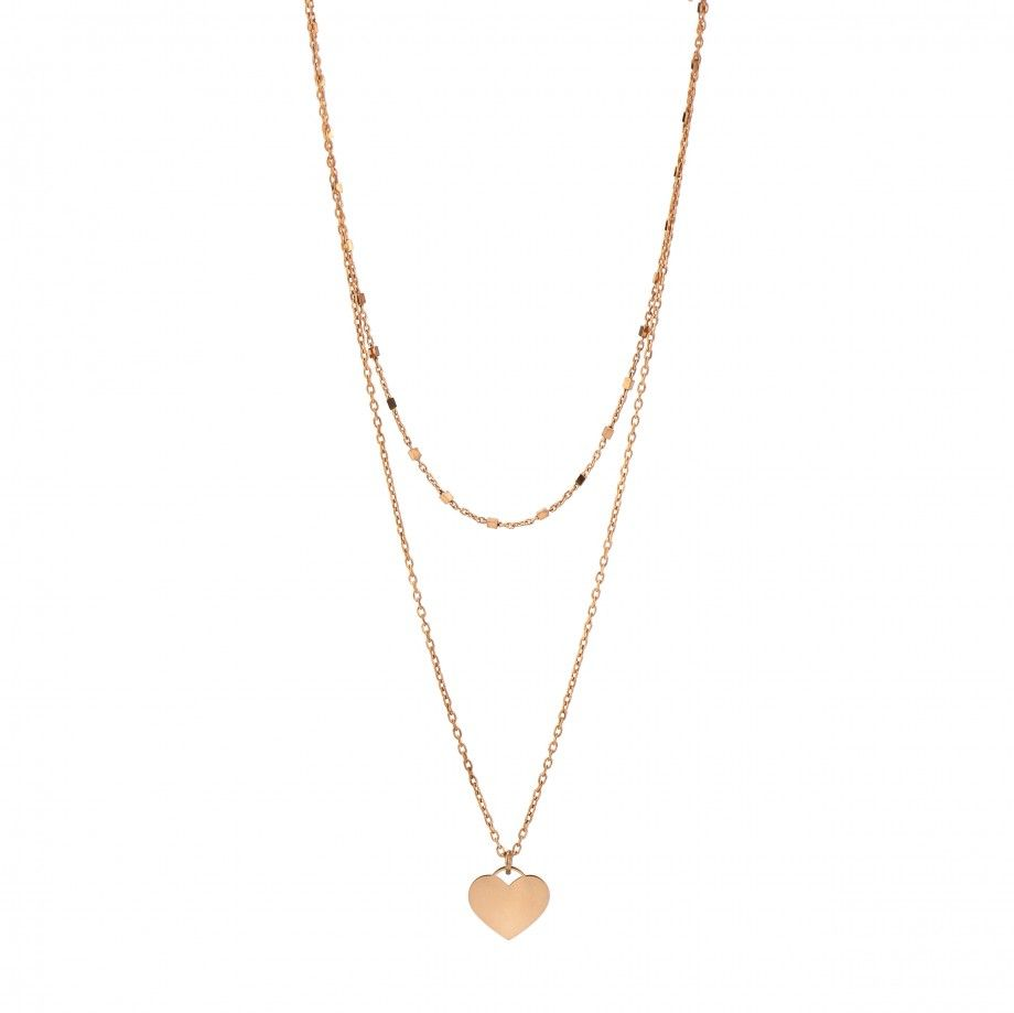 Double Necklace Heart - Rose Golden